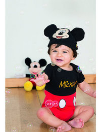 Image of Mickey Mouse Jersey Bodysuit and Hat
