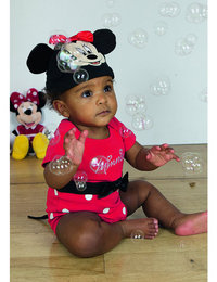 Image of Minnie Mouse Red Jersey Bodysuit and hat