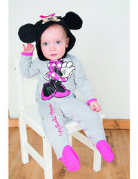 Image of Minnie Mouse Jersey Romper with Hood