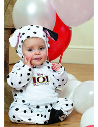 Image of 101 Dalmation, Patch All in One Romper with Feature Hat